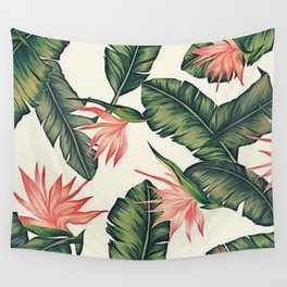 Palm Leaf & Flower Print Wall Tapestry