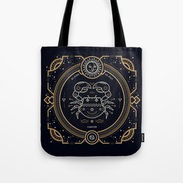 Cancer Zodiac Gold White with Black Background Tote Bag