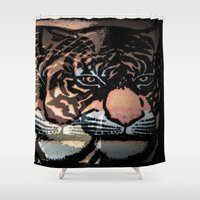 tigers Shower Curtains featuring TWIN TIGERS by T.H.M.