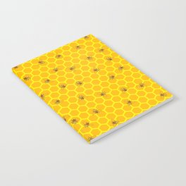 Mind Your Own Beeswax / Bright honeycomb and bee pattern Notebook