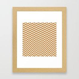 Ocher Orange Herringbone Pattern Framed Art Print