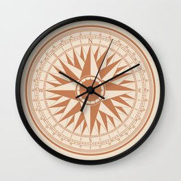Antique Nautical Compass Rose From Vintage Maps Wall Clock