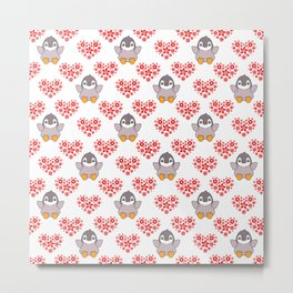 Cute happy cheerful little baby penguins cartoon, red floral hearts hearts seamless white pattern Metal Print