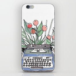 Vintage typewriter. Blue iPhone Skin
