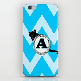 Letter A Cat Monogram iPhone Skin