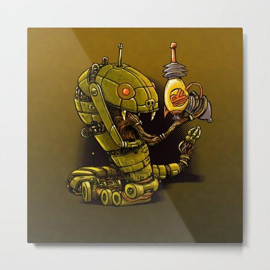 Robot Reptile Raygun Metal Print