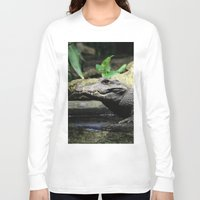 crocodile Long Sleeve T-shirts featuring Crocodile by Falko Follert Art-FF77
