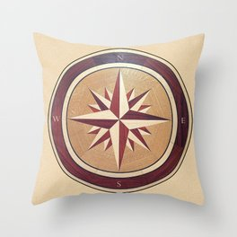 Wind rose drawn on a wooden surface Throw Pillow