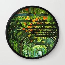 Oranges on a Green Trellis Wall Clock