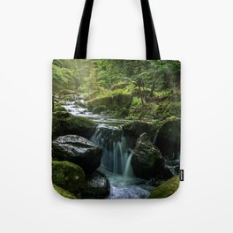 Flowing Creek, Green Mossy Rocks, Forest Nature Photography Tote Bag