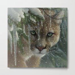 """Cougar / Mountain Lion """"Frozen"""" Metal Print"""