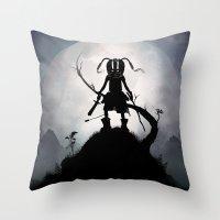 skyrim Throw Pillows featuring Skyrim Kid by Andy Fairhurst Art