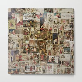Merry Christmas - Santa angels & friends - collage Metal Print