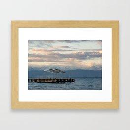 Sunrise above mountains and lake Framed Art Print