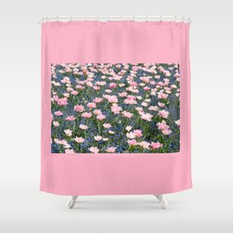 Pink Foxtrot tulips with blue forget-me-nots Shower Curtain
