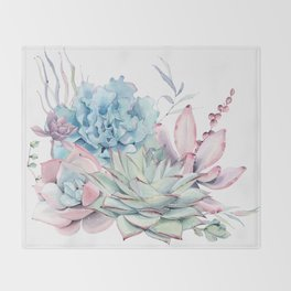 Pretty Pastel Succulents Throw Blanket