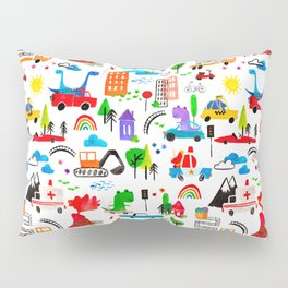 Dinosaur City Watercolor Transportation Pattern Pillow Sham