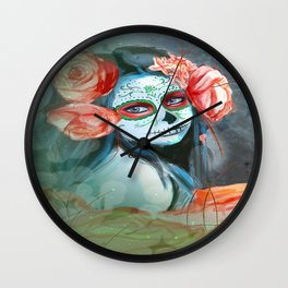 Day of the Dead Peachy Keen Wall Clock