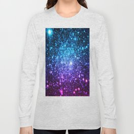 Glitter Galaxy Stars : Turquoise Blue Purple Hot Pink Ombre Long Sleeve T-shirt