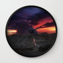 Sunset at Kalapana 2 Wall Clock
