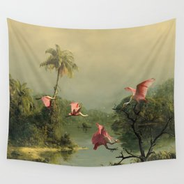 Spoonbills in the Mist Wall Tapestry