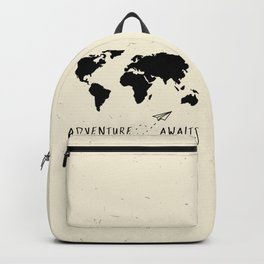 Adventure Map - Vintage Black Backpack