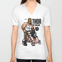 finland V-neck T-shirts featuring Thor of Finland (Color Version) by Randy Meeks