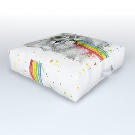 Kitten Puking Rainbows Cat Rainbow Vomit Outdoor Floor Cushion