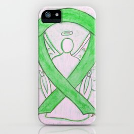 Lime Green Awareness Ribbon Angel Art iPhone Case