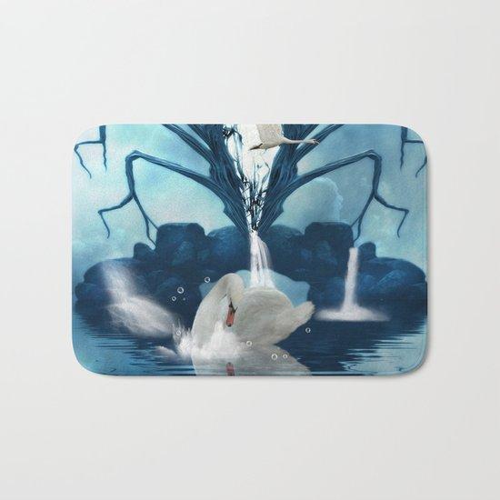 Beautiful white swan Bath Mat
