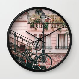 Bike in Paris Pink City Photography  Wall Clock