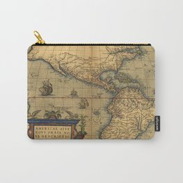 Antique Map of North and South America 1570 Carry-All Pouch