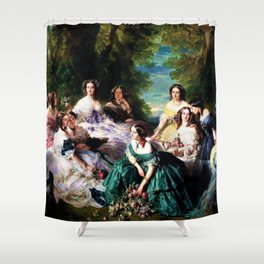 """Franz Xaver Winterhalter's masterpiece """"The Empress Eugenie surrounded by her Ladies in waiting"""" Shower Curtain"""