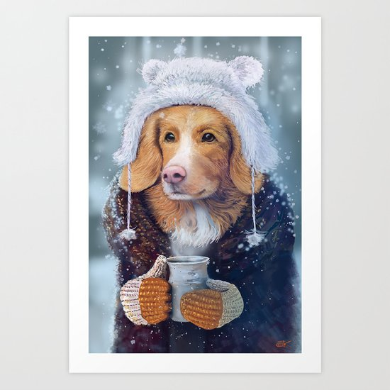 Winter dog Art Print