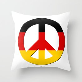 Black Red Yellow German Flag CND Peace Symbol Throw Pillow