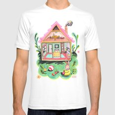 Rebecca Rabbit, Her House, and Her Belongings White Mens Fitted Tee MEDIUM
