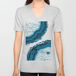 Blue Agate Glitter Glam #1 #gem #decor #art #society6 Unisex V-Neck