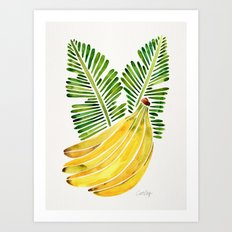Banana Bunch – Green Leaves Art Print