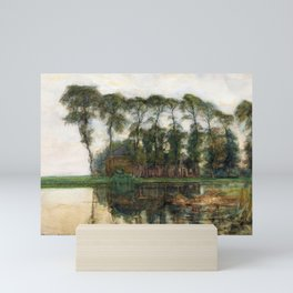 Farmstead along the water screened by nine tall Mini Art Print
