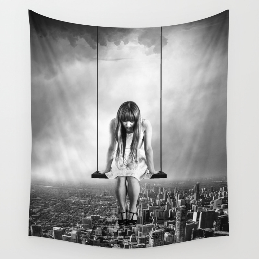 Girl Looking From Above Wall Tapestry by Fbmovercrafts TPS6347200