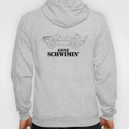 gone schwimin' - a distressed line drawing of a vintage Type 166 Schwimmwagen Hoody