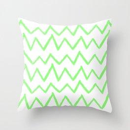 Hand-Drawn Zig Zag (Light Green & White Pattern) Throw Pillow