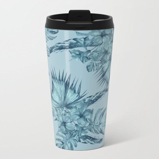 Hawaiian Blue Teal Island Pattern Metal Travel Mug