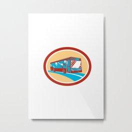 Tourist Coach Shuttle Bus Oval Retro Metal Print