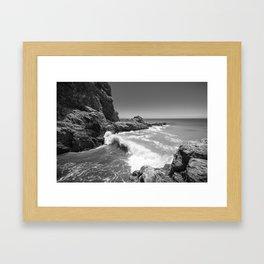 Waves crash along Rancho Palos Verdes coastline Framed Art Print