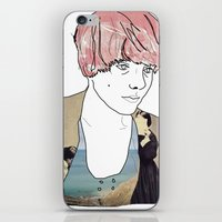introvert iPhone & iPod Skins featuring introvert girl by Katharina Nachher