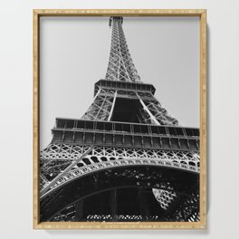 Eiffel Tower // Looking up at the World's Most Famous Monument in Paris France Classic Photograph Serving Tray