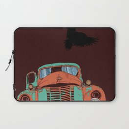 Art print: The old vintage car, the Raven and the Wolf skull Laptop Sleeve