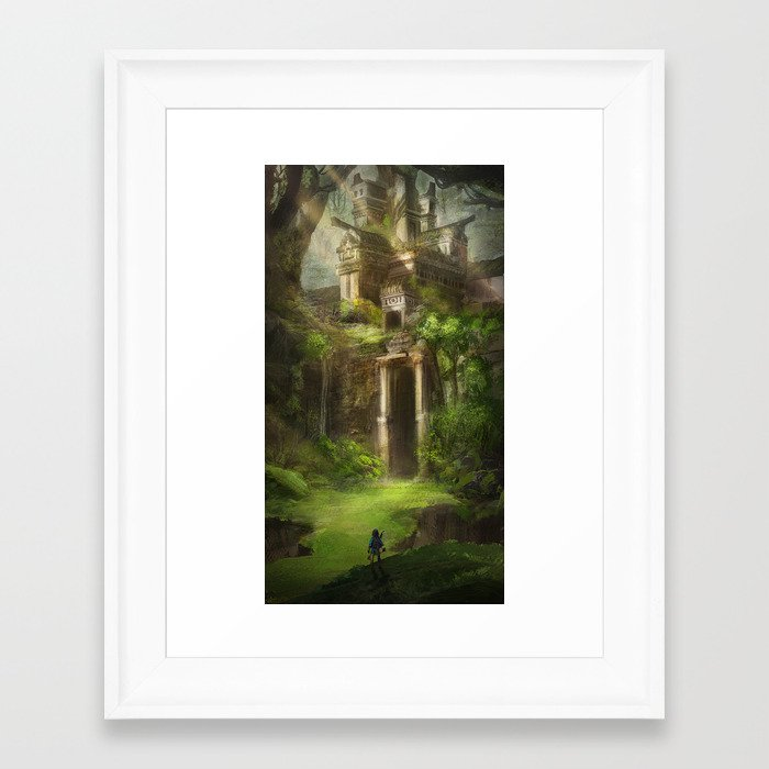 Forest Temple - Large Version Framed Art Print by jessmeixing | Society6