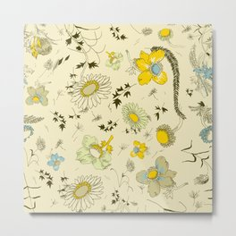 large flowers - cream and yellows Metal Print